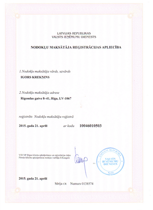 Taxpayer Certificate 2015